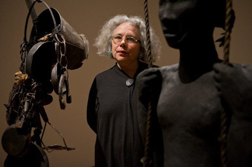 Alison Saar with her sculptures. Image from the Asheville Art Museum.