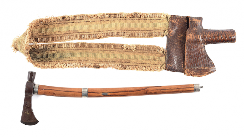 Especially fine and historical circa-1780 inlaid pipe tomahawk that belonged to Sir Alexander Mackenzie (1764-1820), first European to reach the Pacific Ocean. Featured in numerous prestigious reference books. Accompanied by NRA silver medal awarded in its 'Ten Best Weapons' competition, 1984, and archival documentation. Estimate $150,000-$500,000