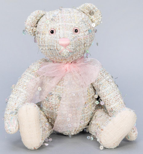 """Lot #66: Margarete Steiff Club """"Haute Couture"""" Teddy bear. Image from Potter & Potter."""