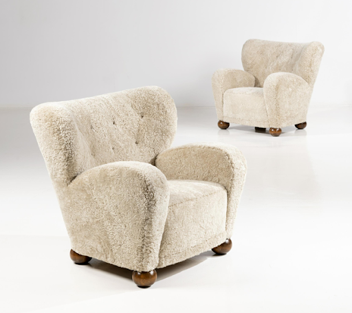 Märta Blomstedt, pair of birch and fabric Aulanko armchairs, c. 1940. Image from Annmaris/PIASA.