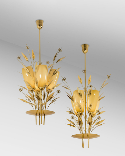 Paavo Tynell, pair of brass and glass chandeliers, c. late 1940s. Image from Annmaris/PIASA.