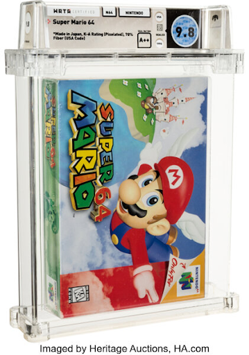 The most expensive video game ever sold at auction, a copy of Super Mario 64 presented earlier this year by Heritage Auctions. Image from the auction house.