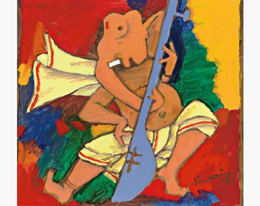 Maqbool Fida Husain, Dancing Ganesha, 1989. Image courtesy of Christie's.