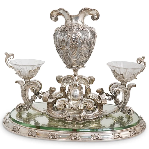Important sterling silver centerpiece by Paulding Farnham for Tiffany & Co. Image from Akiba Antiques.