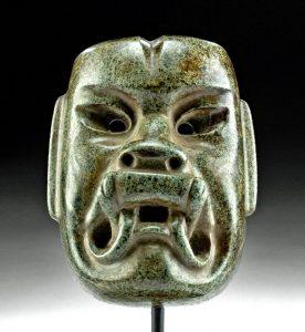 Stunning Olmec Jade Maskette Were-Jaguar Transforming