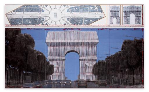 Christo, L'Arc de Triomphe, Wrapped (Project for Paris) Place de l'Etoile - Charles de Gaulle, 2019. Image from Sotheby's.