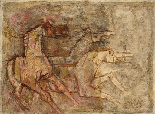 Maqbool Fida Husain, Untitled (Horses), c. 1960s. Image courtesy of Christie's.
