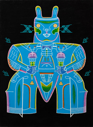 Karl Wirsum, Rabbit Double Gyro with Windshields, 1981. Image from Hindman.